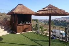 Chiringuito de Madera con Cubierta de Junco Africano